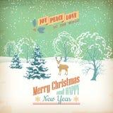De vectorkaart van de Kerstmis Retro Groet Stock Afbeeldingen