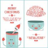 De vectorkaart van de Kerstmisgroet en nieuw jaar met Stock Afbeelding