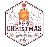 De vectorkaart van de Kerstmisgroet in kentekenvorm Het vette kat spelen met Kerstmisstuk speelgoed Geïsoleerdj op witte achtergr Royalty-vrije Stock Foto