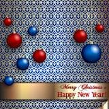 De vectorkaart van de Kerstmisgroet met ballen  Stock Afbeeldingen
