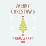 De vectorkaart van de Kerstmisgroet met boom Royalty-vrije Stock Fotografie