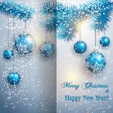 De vectorkaart van de Kerstmisgroet met boomtak Royalty-vrije Stock Afbeeldingen