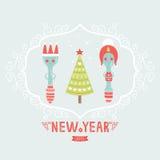 De vectorkaart van de Kerstmisgroet met lepel, stop, Royalty-vrije Stock Foto