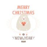 De vectorkaart van de Kerstmisgroet met leuke schapen Stock Fotografie