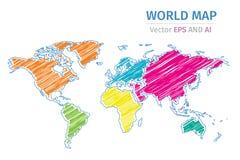 De vectorkaart van de kleurenwereld op witte achtergrond Stock Afbeelding