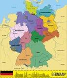 De vectorkaart van Duitsland met gebieden stock illustratie