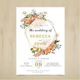 De vectorkaart van de huwelijksuitnodiging Rustieke het patroonreeks van de florabloem vector illustratie