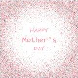 De vectorkaart van de moeders Dag De blauwe en roze de slagenachtergrond van de verfborstel, goud schittert confettien het glanze Stock Fotografie