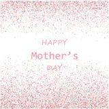 De vectorkaart van de moeders Dag De blauwe en roze de slagenachtergrond van de verfborstel, goud schittert confettien het glanze Royalty-vrije Stock Afbeelding