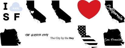 De vectorkaart van San Francisco Californië stock illustratie