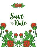 De vectorkaders van de illustratie rode kroon bloeit met huwelijksuitnodiging sparen de datumkaarten royalty-vrije illustratie