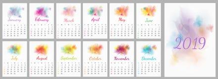 De vectorkalender 2019 van het waterverfontwerp vector illustratie