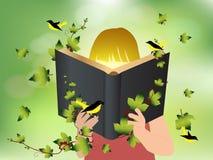 De vectorkinderen die van het verbeeldingsconcept boek lezen Stock Afbeelding