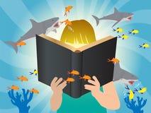De vectorkinderen die van het verbeeldingsconcept boek lezen Royalty-vrije Stock Fotografie