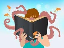 De vectorkinderen die van het verbeeldingsconcept verhaal lezen  Stock Fotografie