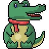 De vectorkrokodil van de pixelkunst Royalty-vrije Stock Afbeeldingen