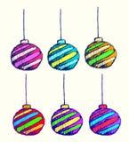 De vectorkunst van Kerstmisbal voor groetkaart en nodigt uit Royalty-vrije Stock Foto's