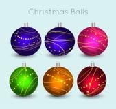 De vectorkunst van Kerstmisbal voor groetkaart en nodigt uit Stock Afbeeldingen