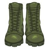 De vectorlaarzen van het beeldverhaalleger Hoge Militaire Schoenen Stock Foto's