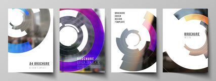 De vectorlay-out van A4 formatteert de moderne ontwerpsjablonen van dekkingsmodellen voor brochure, tijdschrift, vlieger, boekje, royalty-vrije illustratie
