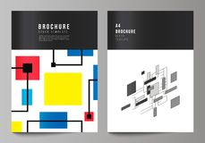 De vectorlay-out van A4 formatteert de moderne ontwerpsjablonen van dekkingsmodellen voor brochure, vlieger, boekje, jaarverslag stock illustratie