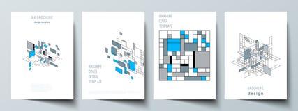 De vectorlay-out van A4 formatteert de moderne ontwerpsjablonen van dekkingsmodellen voor brochure, vlieger, boekje, jaarverslag vector illustratie