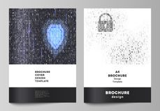 De vectorlay-out van A4 de modellen van de formaatdekking ontwerpt malplaatjes voor brochure, tijdschrift, vlieger, boekje, rappo royalty-vrije illustratie