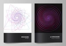 De vectorlay-out van A4 de modellen van de formaatdekking ontwerpt malplaatjes voor brochure, vlieger, boekje, rapport Willekeuri vector illustratie