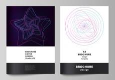 De vectorlay-out van A4 de modellen van de formaatdekking ontwerpt malplaatjes voor brochure, vlieger, boekje, rapport Willekeuri royalty-vrije illustratie