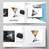 De vectorlay-out van twee dekkingsmalplaatjes voor vierkante ontwerp bifold brochure, tijdschrift, vlieger, boekje Creatieve mode stock illustratie