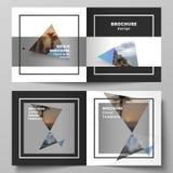De vectorlay-out van twee dekkingsmalplaatjes voor vierkante ontwerp bifold brochure, tijdschrift, vlieger, boekje Creatieve mode vector illustratie
