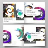 De vectorlay-out van twee dekkingsmalplaatjes voor vierkante ontwerp bifold brochure, tijdschrift, vlieger, boekje Futuristisch o stock illustratie