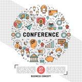 De vectormalplaatjes van het bedrijfsconferentieontwerp, de pictogrammen van de lijnkunst vector illustratie