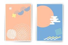 De vectormalplaatjes van de reeks minimalistic affiche Royalty-vrije Stock Foto's