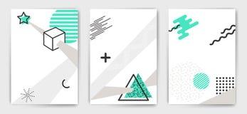 De vectormalplaatjes van de reeks minimalistic affiche Stock Fotografie