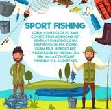 De vectormensen van de beeldverhaalvisser met vissenvangst en staaf Royalty-vrije Stock Foto's