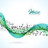 De vectormuziekillustratie met dalende nota's en de abstracte kleur ontwerpen op witte achtergrond voor uitnodigingsbanner, parti Stock Foto