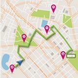 De vectornavigatie van de stadskaart Stock Foto's