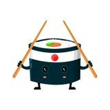 De vectorninjasushi van Japan met Chinees plakt vlakke het karakterillustratie van het ontwerpbeeldverhaal Het broodje van sushi  Stock Foto's
