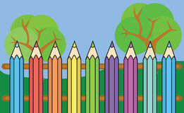 De vectoromheining van kleurenkleurpotloden Royalty-vrije Stock Afbeelding