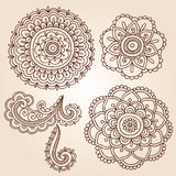 De VectorOntwerpen van de Krabbel van Mandala van de Bloem van de Tatoegering van de henna Stock Fotografie