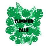 De vectorontwerpsjabloon van de illustratiebanner met tropische palmbladen en installaties De tekst van de de zomerverkoop stock illustratie