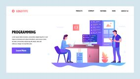 De vectorontwerpsjabloon van de websitegradiënt Codage en softwareapp ontwikkeling Het landen paginaconcepten voor website en vector illustratie