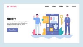 De vectorontwerpsjabloon van de websitegradiënt Cyberveiligheid en veilige toegang Mobiele login van de telefoonvingerafdruk Land vector illustratie