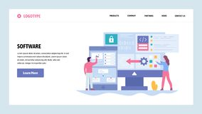 De vectorontwerpsjabloon van de websitegradiënt Software-ontwikkeling en toepassingscodage Saftware engenieer schrijft computer royalty-vrije illustratie