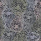 De vectorpauw bevedert naadloos patroon/Ornament met inkthand Stock Afbeelding