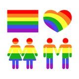 De vectorpictogrammen en de symbolen van regenboog vrolijke LGBT rechten Stock Afbeelding