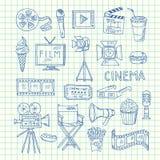 De vectorpictogrammen van de bioskoopkrabbel vector illustratie