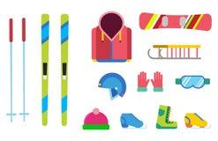 De vectorpictogrammen van de de wintersport geplaatst van het hulpmiddelelementen van ski snowboarding kleren van de de helmhands royalty-vrije illustratie