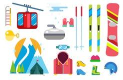 De vectorpictogrammen van de de wintersport geplaatst van het hulpmiddelelementen van ski snowboarding kleren van de de helmhands vector illustratie